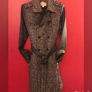 Michael Kors Tweed & Leather Trenchcoat